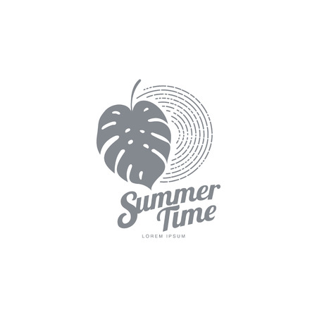 Black white graphic logo template with monstera palm leaf, vector illustration isolated on white background. Black white summer time abstract logotype, logo template with monstera palm leaf