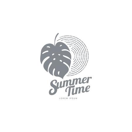 Zwart wit grafisch embleemmalplaatje met monsterapalmblad, vectorillustratie die op witte achtergrond wordt geïsoleerd. Zwart wit zomertijd abstract logo, logo sjabloon met monstera palmblad