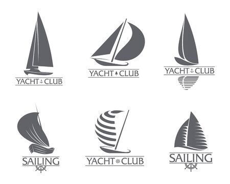 Set of black and white graphic yacht club, sailing sport logo templates, vector illustration isolated on white background. Graphic yacht, sail boat logotype, logo design Illustration