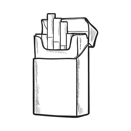 Pacchetto di sigarette aperto in piedi senza etichetta, illustrazione vettoriale schizzo isolato su sfondo bianco. Disegno realistico a mano di un pacchetto senza etichetta aperto con sigarette spente