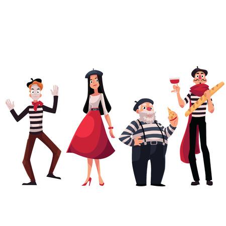 Conjunto de caracteres femeninos y masculinos francés y, mimos que sostienen el queso, pan, vino como símbolos de Francia, ilustración vectorial de dibujos animados aislado en el fondo blanco. Personas francesas, mimos, símbolos de Francia Ilustración de vector