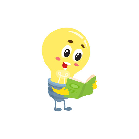 Cute light bulb character with funny face reading a book, cartoon vector illustration isolated on white background. Funny light bulb character standing with a book