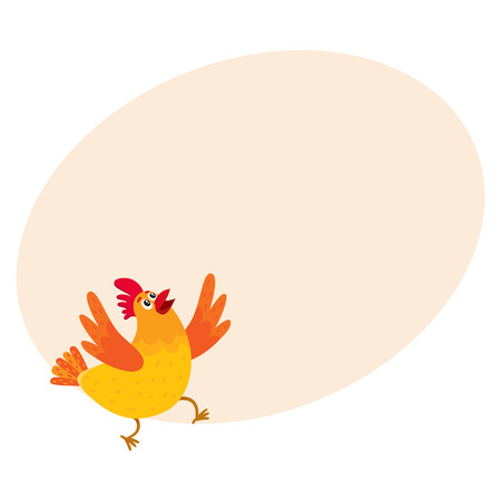 Funny cartoon red and orange chicken, hen surprised or jumping from happiness, cartoon vector on background with place for text. Cute and funny colorful chicken looking up and raising wings