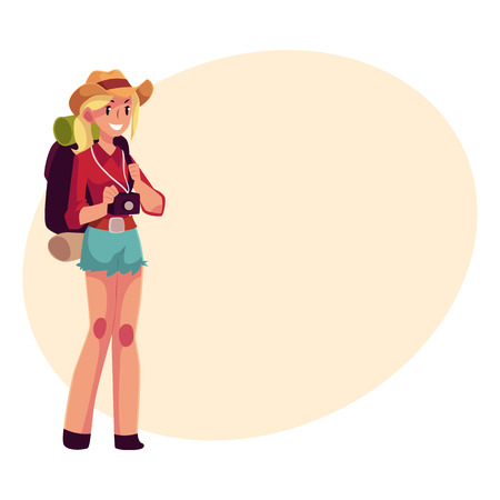 sleeping bags: Young pretty girl travelling, hitchhiking with backpack and camera, cartoon on background with place for text. Female backpacker, hitchhiker in cowboy hat and shorts with backpack and camera