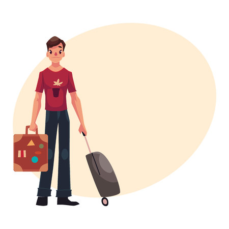 Young man with two suitcases - modern and retro, in jeans and t-shirt, cartoon illustration on background with place for text. Airplane passenger with two suitcases, going to, from vacation