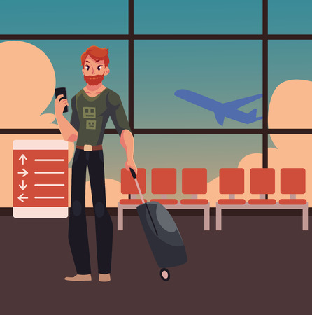 Young man with suitcases and phone in jeans and t-shirt in airport terminal interior with a view of airplane. Airplane passenger with suitcases, going to, from vacation