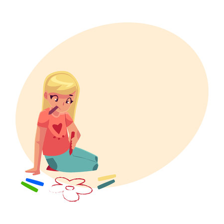Little girl sitting on the floor and drawing flowers with colorful crayons, cartoon vector on background with place for text. Pretty little girl drawing with crayons sitting on the floor Ilustração