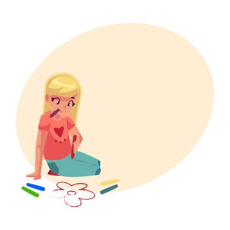 Meisjeszitting op de vloer en tekeningsbloemen met kleurrijke kleurpotloden, beeldverhaalvector op achtergrond met plaats voor tekst. Mooie meisjetekening met kleurpotloden die op de vloer zitten
