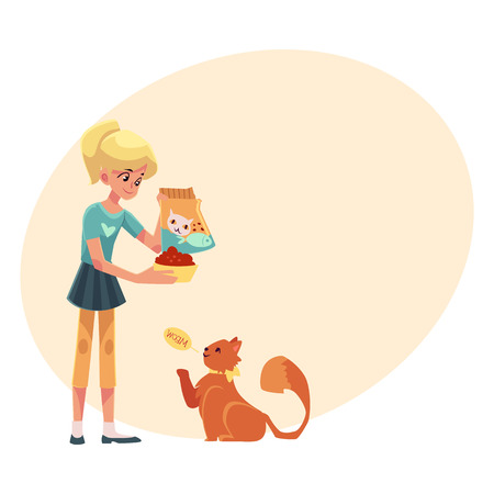 Teenage girl giving food to her fluffy red cat, cartoon vector illustration on background with place for text. Full length portrait of blond girl feeding her red, long haired cat Illustration