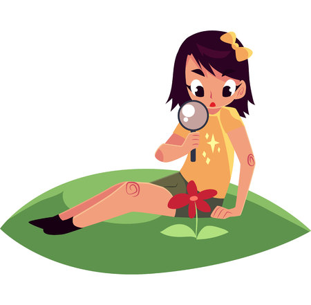girl in nature: Little girl sitting on grass and studying a flower through magnifying glass, cartoon vector illustration isolated on white background. Little girl, botanist looking at flower through magnifying glass Illustration