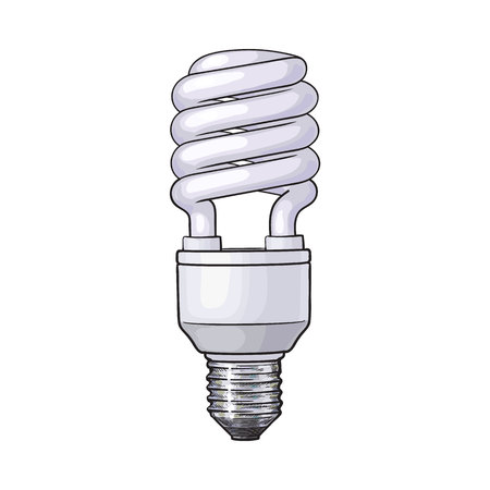 Fluorescent, energy saving, spiral light bulb, side view, sketch style vector illustration isolated on white background. Realistic hand drawing of spiral fluorescent light bulb, energy saving concept
