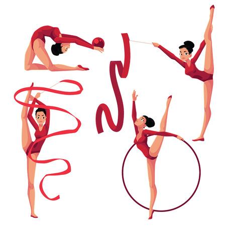Set of beautiful girl doing rhythmic gymnastics with ribbon, ball, hoop, cartoon vector illustration isolated on white background. Beautiful rhythmic gymnast exercising with ribbon, ball, hoop