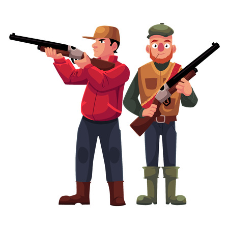 Two hunters, one in vest holding rifle, another aiming with a gun, cartoon vector illustration isolated on white background. Full length portrait of two hunters, hunting season concept Illustration