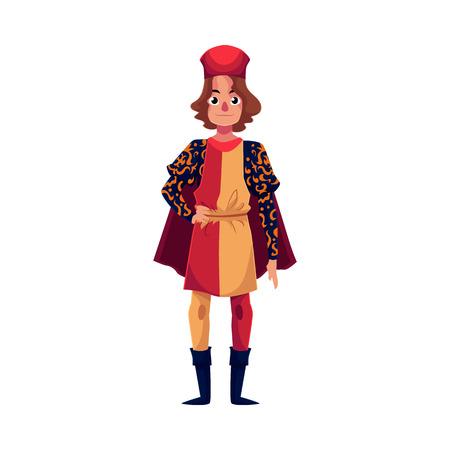 Portret pełnej długości młodych włoski człowiek w renesansowy kostium czasu, ilustracji wektorowych kreskówek samodzielnie na białym tle. Średniowieczny, renesansowy człowiek włoski w tradycyjnym stroju historycznym