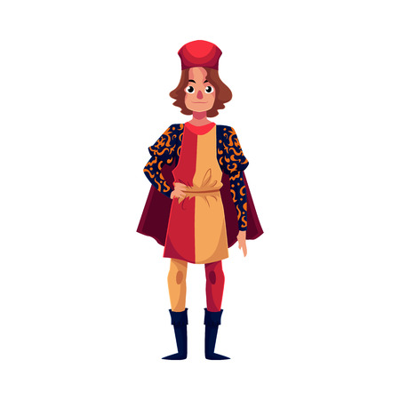 Full length portrait of young Italian man in Renaissance time costume, cartoon vector illustration isolated on white background. Medieval, Renaissance Italian man in traditional historical costume Illustration