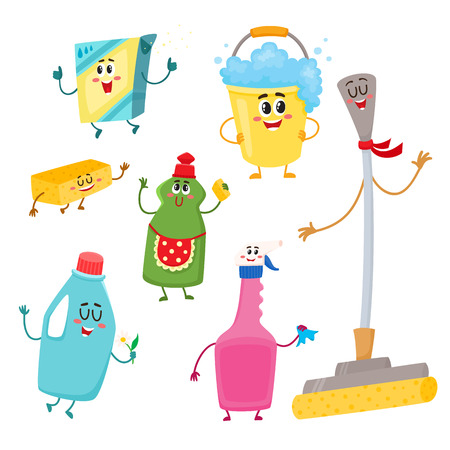 Set of funny house cleaning characters - detergents, bucket, mop, sponge, cartoon vector illustration isolated on white background. Cute and funny domestic cleaning equipment, detergent character set Illustration