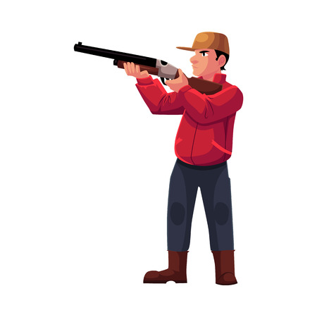 Single hunter aiming at his target with a gun, rifle, cartoon vector illustration isolated on white background. Full length portrait of typical modern hunter in jacket and boots aiming with a gun Illustration