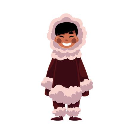 Eskimo, Inuit black haired boy in sheepskin warm winter clothes, cartoon vector illustration isolated on white background. Full length portrait of smiling Eskimo, Inuit little boy Illustration