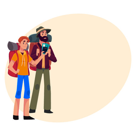 sleeping bags: Two pretty girls travelling, hitchhiking with backpacks and camera, cartoon illustration on background with place for text. male backpackers, hitchhikers, friends travelling with backpacks and camera