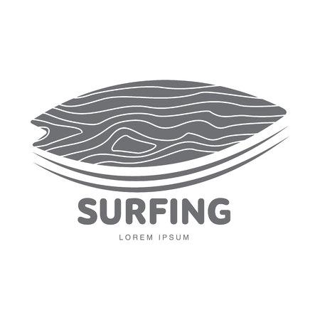Zwart en wit grafische surfen logo template met surfplank op tekst leunt, vector illustratie op een witte achtergrond. Grafisch surfen board logo, logo design