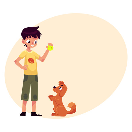 Teenage boy standing and playing with his fluffy red dog, puppy, cartoon vector on background with place for text. Full length portrait of black haired boy playing with his dog using a ball Çizim