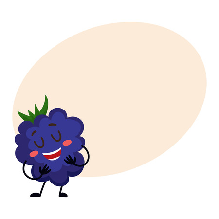 dewberry: Cute and funny comic style blackberry character smiling wildly, cartoon vector on background with place for text. Blackberry, dewberry character, mascot smiling proudly, singing, posing Stock Photo
