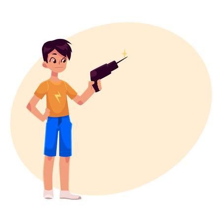 adolescent: Teenage boy in shorts and t-shirt holding a drill, cartoon vector illustration on background with place for text. Full length portrait of boy holding hammer, repair concept