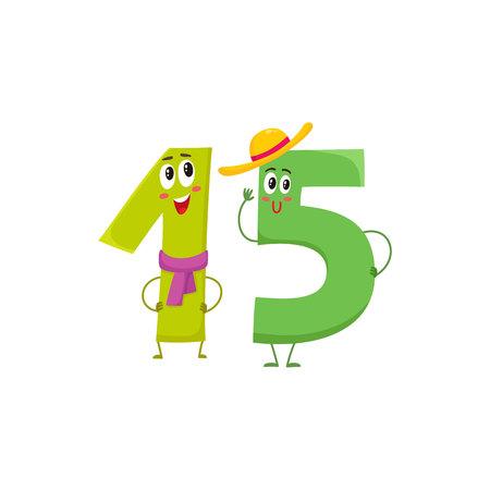 Leuke en grappige kleurrijke 15 cijfer tekens, cartoon vectorillustratie geïsoleerd op een witte achtergrond. vijftien lachende personages, verjaardagswensen, jubileum