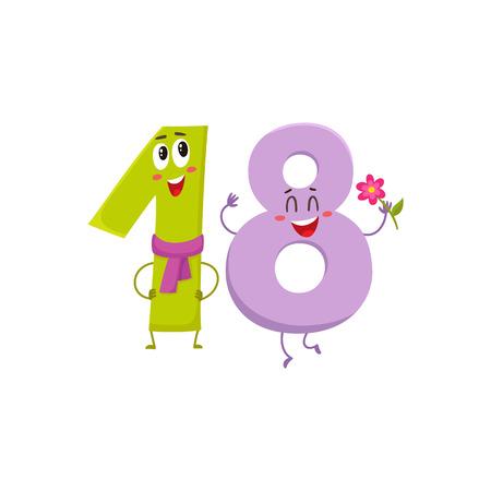 Caratteri variopinti 18 e di numero variopinti svegli e divertenti, illustrazione di vettore del fumetto isolata su fondo bianco. diciotto personaggi sorridenti, auguri di compleanno, anniversario