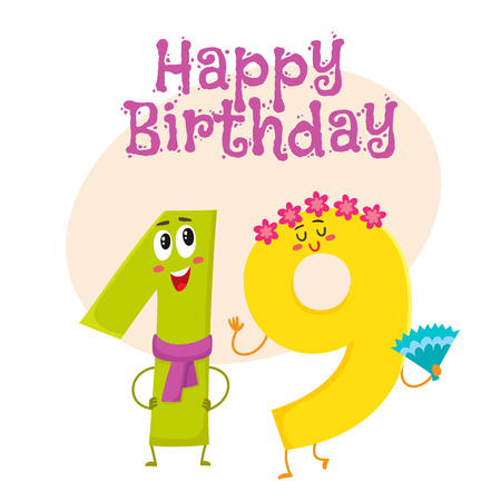 Happy birthday vector greeting card, poster, banner design with cute and funny nineteen number characters. nineteen smiling characters, happy birthday greeting card template Illustration