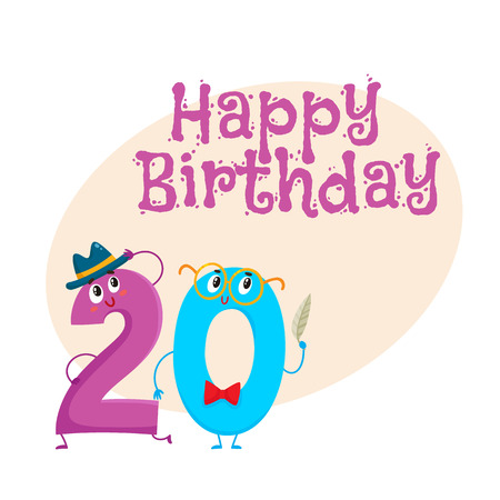 Happy birthday vector greeting card, poster, banner design with cute and funny twenty number characters. twenty smiling characters, happy birthday greeting card template Illustration