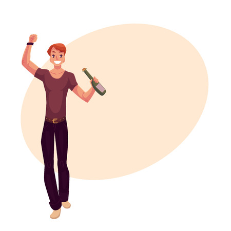 clubber: Young man dancing with beer bottle at party, in night club, cartoon vector illustration on background with place for text. Young handsome man dancing at a nightclub, drinking beer, having fun