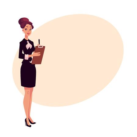 Jong mooi restaurant, café vrouwelijke manager in zwarte jurk vergadering gasten, cartoon vectorillustratie op achtergrond met plaats voor tekst. Volledig lengteportret van restaurantmanager met een tablet Stock Illustratie