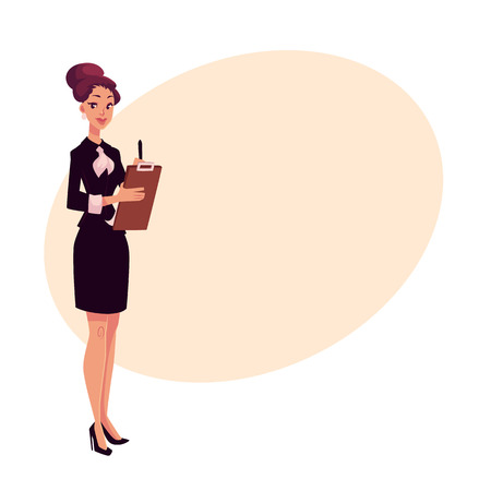 Young beautiful restaurant, cafe female manager in black dress meeting guests, cartoon vector illustration on background with place for text. Full length portrait of restaurant manager with a tablet