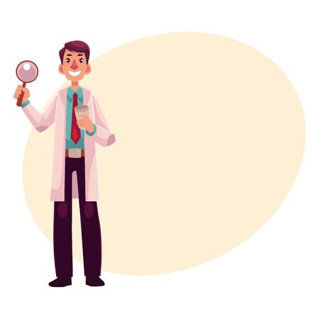 general practitioner: Smiling male dermatologist doctor standing with magnifying glass in one hand, cartoon vector on background with place for text. Male dermatologist, healthcare professional holding magnifier Stock Photo