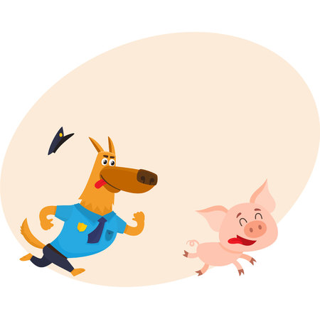 chasing tail: Funny shepherd dog character in blue police uniform chasing a pig, cartoon vector illustration with place for text. Funny police dog character running after little pig Illustration