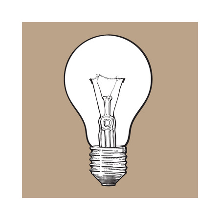 Traditional transparent tungsten light bulb, side view, sketch style vector illustration isolated on brown . Realistic hand drawing of retro style transparent tungsten light bulb