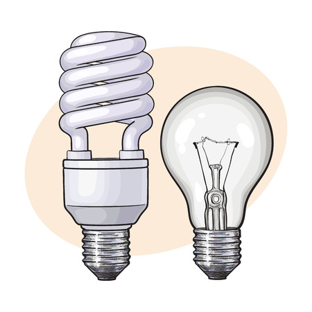 Modern fluorescent, energy saving and traditional tangsten light bulb, sketch style vector illustration isolated . Realistic hand drawing of fluorescent and tungsten light bulbs