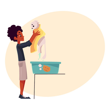 it is full: Black, African teenage boy washing, bathing white cat, cartoon vector illustration with place for text. Full length portrait of black boy holding his cat after washing it in a bath