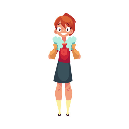 Teenage girl helping to clean the house, holding two foam sponges, cartoon vector illustration isolated . Girl cleaning home in rubber gloves with two foam sponges