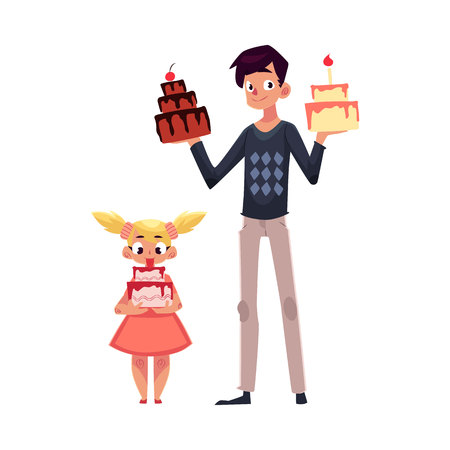 Father and daughter holding birthday cakes, getting ready for party, cartoon vector illustration isolated  Young man and his little daughter choosing birthday cake