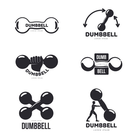 barbel: Set of black and white graphic dumbbell logo templates, vector illustration isolated on white background. Illustration