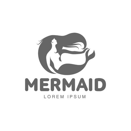 long haired: Stylized black and white graphic logo template with long haired mermaid turned profile, vector illustration isolated on white background.