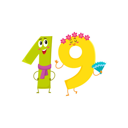 Cute and funny colorful 19 number characters, cartoon vector illustration isolated on white background.