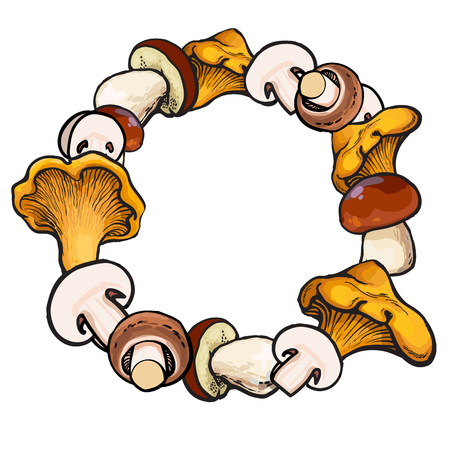 Round frame of chanterelle, champignon, porcini edible mushrooms with place for text, sketch vector illustration on white background.