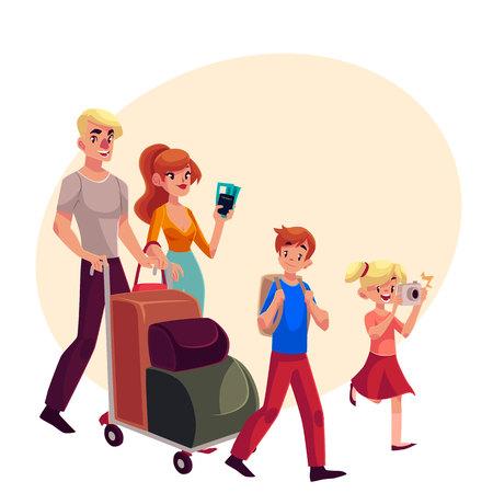Vierköpfige Familie im Flughafen, Vater, der Warenkorb mit Gepäck, Mutterholdingkarten, kleines Mädchen, das Fotos, Karikaturillustration drückt.