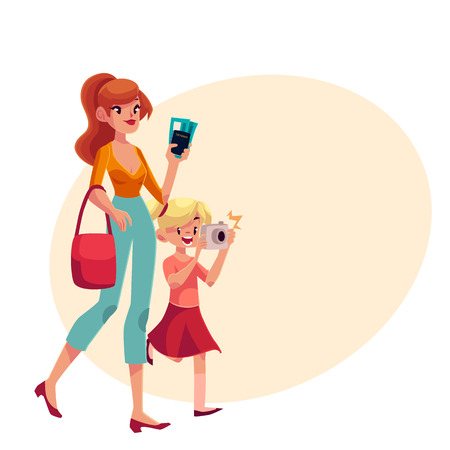 mom and daughter: Young beautiful woman going on vacation with her daughter holding camera, passes and passport, cartoon illustration on with place for text. Full length portrait of young mother and daughter