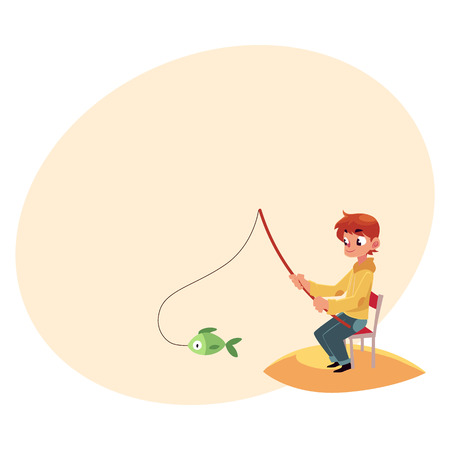 to spend the summer: Little boy fishing with a rod sitting on sandy river, pond bank, summer vacation concept, cartoon vector illustration.