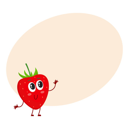 wild strawberry: Cute and funny comic style garden strawberry character looking up, cartoon vector. Illustration