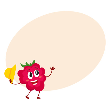 Cute and funny comic style raspberry character holding straw hat, cartoon vector illustration. Illustration
